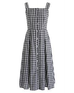 Kariertes Vergnügen - Cami-Kleid mit Knopfverschluss