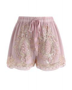 Shorts de gasa con cuentas brillantes en rosa