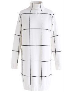 Willkommen - Rollkragenpullover Kleid mit Falten