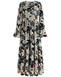 Duftende Lilie Wrap Floral Maxi-Kleid