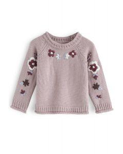 Fügen Sie weitere Dusty Pink Flower Stickerei Pullover für Kinder