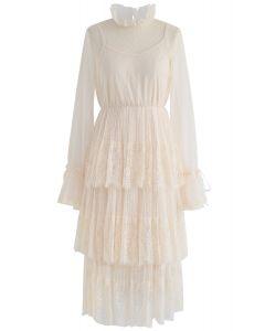 Wir haben vor Dots Lace Mesh-Kleid in Creme getroffen