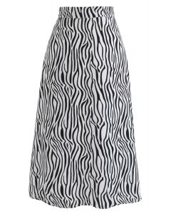 Wildlife Zebra Printed A-Line Midi Skirt in White