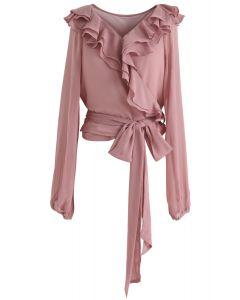 Kokettes Pink – Gerüschtes bauchfreies Wickeltop