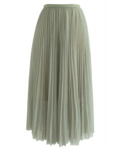 Turn the Night Up Pleated Mesh Skirt in Pea Green