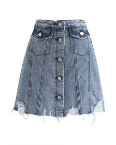 Major Moves Button-Down-Jeans-Minirock