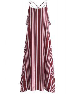 Prominente Streifen Cross Back Cami Kleid