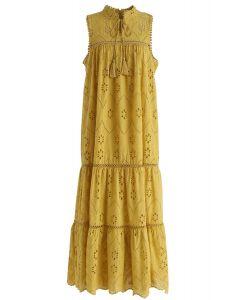 Versuchen Sie, Boho bestickte Öse Maxi-Kleid in Senf zu sein