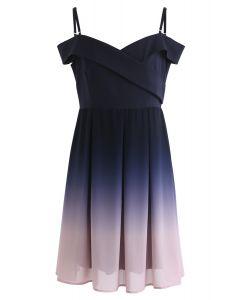 Gradient Revelry - Kleid mit kalten Schultern in Lila