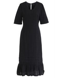 Ich kann nicht genug besticktes Kleid in Schwarz bekommen