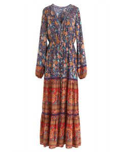 Boho Psychedelic Floral Maxikleid
