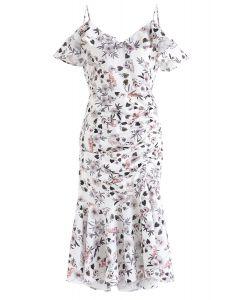 Cocktails Night - Figurbetontes Kleid mit Blumenmuster in Weiß