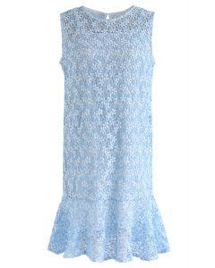 Brandneue Liebe häkeln ärmelloses Kleid in blau