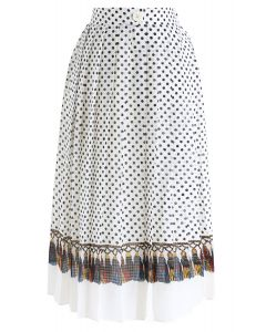Liebe dich selbst Plissee Dots Midirock in Creme