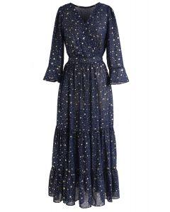 Ruhm der Liebe Sterne gedruckt Maxi-Kleid in Marine