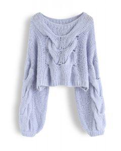 Handgestrickter Mohairpuffärmel-Pullover in Blau