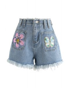 Hoch taillierte Jeansshorts mit Paillettenbesatz
