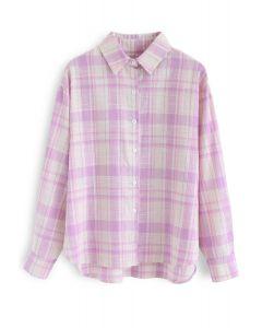 Peppy kariertes Langarmhemd in Pink