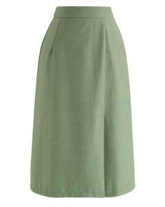 Grundfarbe Split Hem Pencil Skirt in Grün