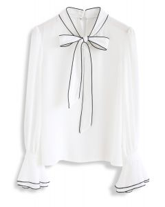 Bowknot Bell Sleeves Chiffontop in Weiß