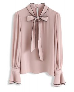 Bowknot Bell Sleeves Chiffontop in Pink