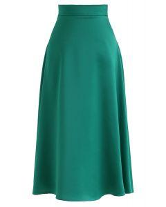 Satin A-Line Midirock in Emerald