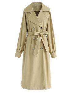 Zweireihiger Longline-Mantel mit Gürtel aus Senf