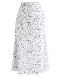 Abstract Floral Printed Midi Skirt in White