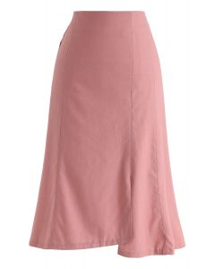 Asymmetrischer Saumstiftrock in Pink