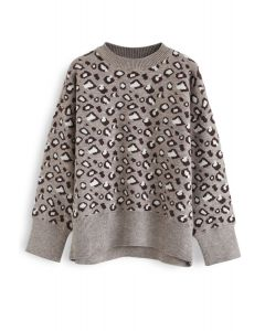 Taupe Leopard Strickpullover