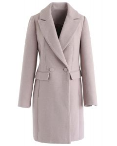 Fronttaschen Wollgemischter Longline Blazer in Pink