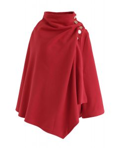 Asymmetric Hem Button Wrap Cape Mantel in Rot