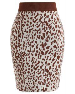 Ministrickrock mit Leopardenmuster aus Karamell