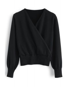 Basic Soft Wrapped Knit Top in Schwarz