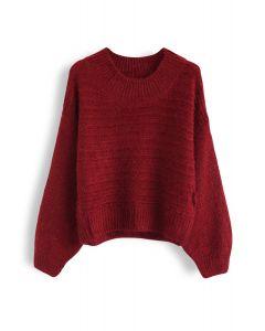 Rundhalsausschnitt Fuzzy Knit Sweater in Rot
