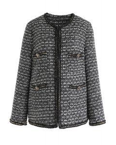 Taschen Tweed Jacke in Schwarz