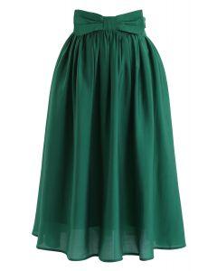 Bowknot Waist Plissee Midirock in Smaragd