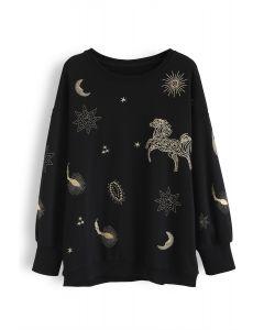 Sternzeichen besticktes Pullover-Sweatshirt in Schwarz