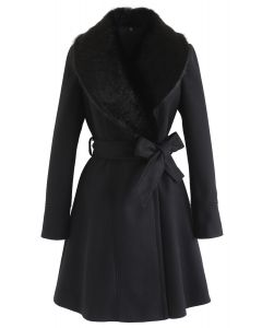 Kunstpelzkragen Belted Flare Coat in Schwarz