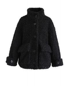 Buttoned Pocket Teddy Coat in Schwarz