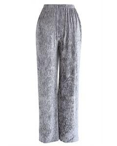 Samthose mit weitem Bein in Silber