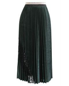 Spitzen verzierter Samtfaltenrock in Smaragd