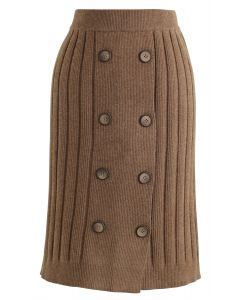 Button Ribbed Knit Pencil Rock in Braun