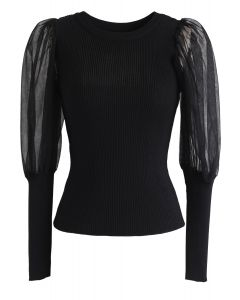 Mesh Bubble-Sleeve Ribbed Knit Top in Schwarz