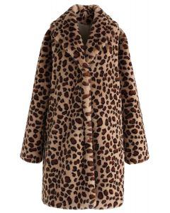 Brown Leopard Kunstpelz Longline Coat mit Kragen