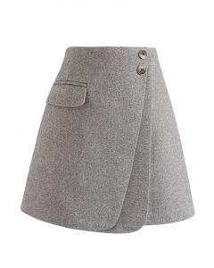 Doppelklappen-Minirock aus Wollmischung in Grau