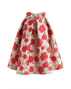 Bowknot Red Floral Jacquard Midirock