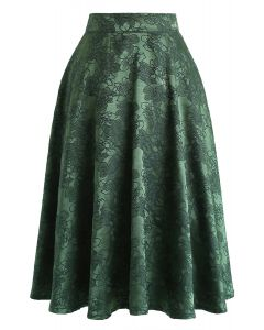 Emerald Floral Jacquard Midirock