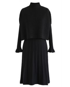 Mock Neck Plissee-Strick-Twinset-Kleid in Schwarz