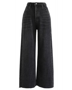 Pockets High-Waisted Wide-Leg Jeans in Schwarz